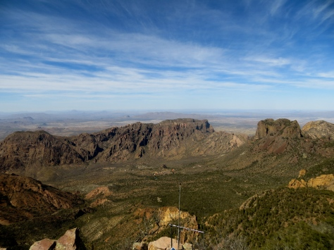 View of Chisos Basin from summit of Emory Peak.  Big Bend, TX.