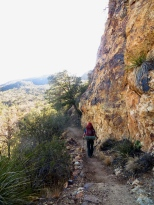 From Emory Peak, we coast down Boot Canyon to camp. It's cool and lush and the setting sun illuminates the cliffs around us. Our camp is quiet and protected amids Oak, Juniper and Pinon Pines. Big Bend's backcountry camps are complete with bear boxes and composting toilets.