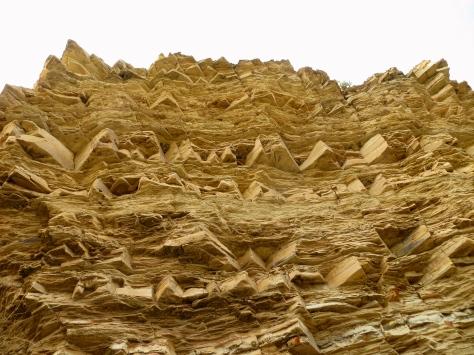 Wall of layered limestone.  Big Bend, TX.