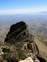 View of El Capitan's backside from the summit of Guadalupe Peak. Guadalupe Mountains National Park, TX.